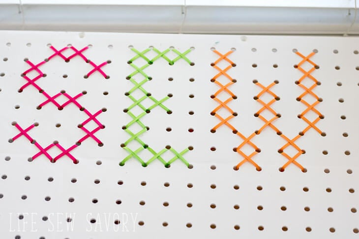 DIY pegboard decoration