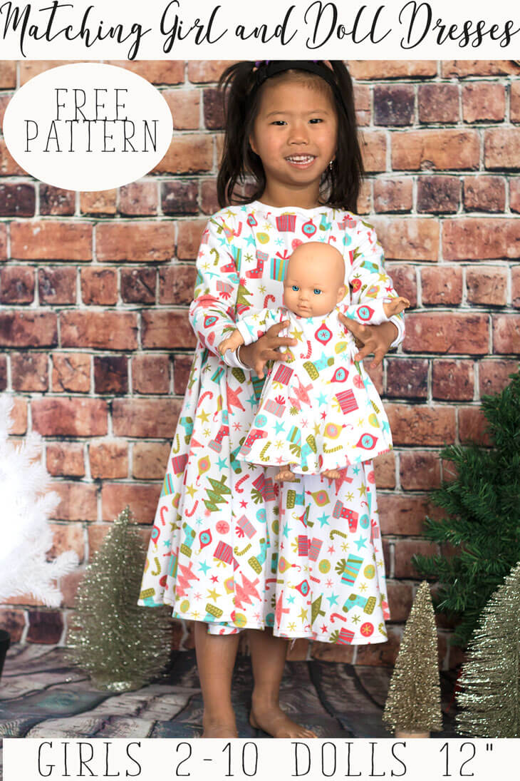 girl and doll matching dress free sewing patterns and tutorial from Life Sew Savory