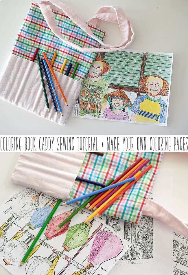 Art Bag sewing tutorial and coloring caddy with custom coloring pages from life sew savory