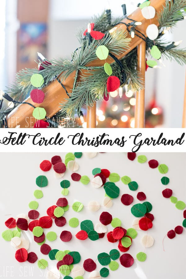 felt garland for Christmas with felt circles by Life Sew Savory
