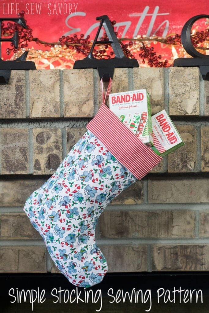 Christmas Stocking Sewing Pattern and tutorial FREE with Stocking stuffer ideas #StockedWithLove #AD from Life Sew Savory @bandaidbrand @Target
