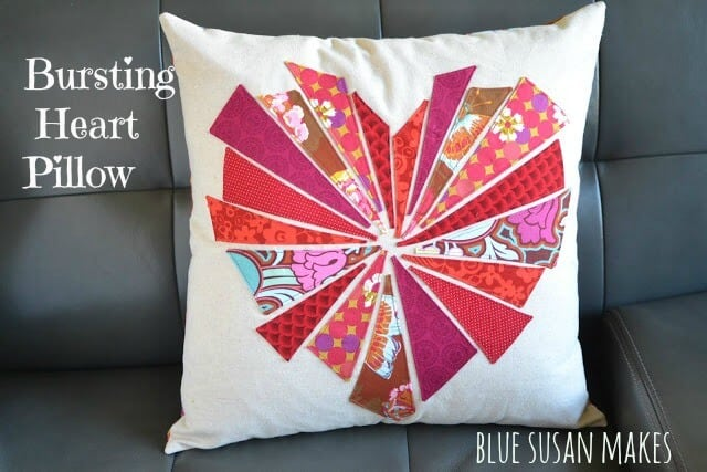 Fabric heart valentines pillow