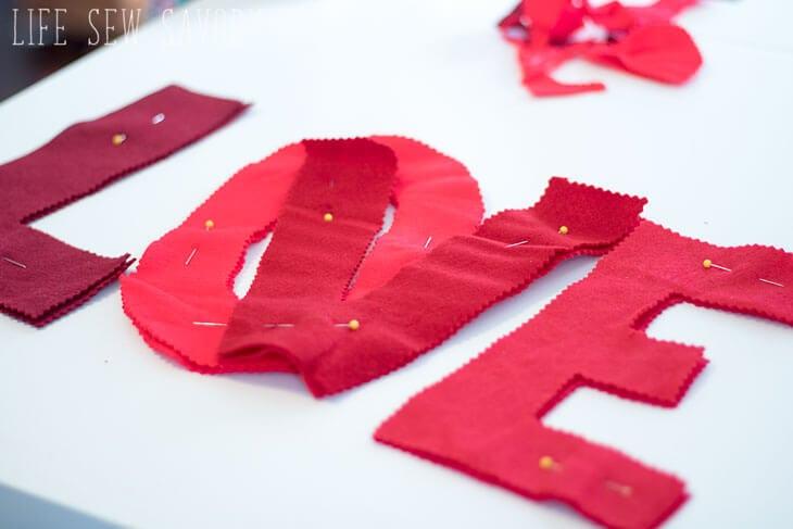 Felt letters valentines banner