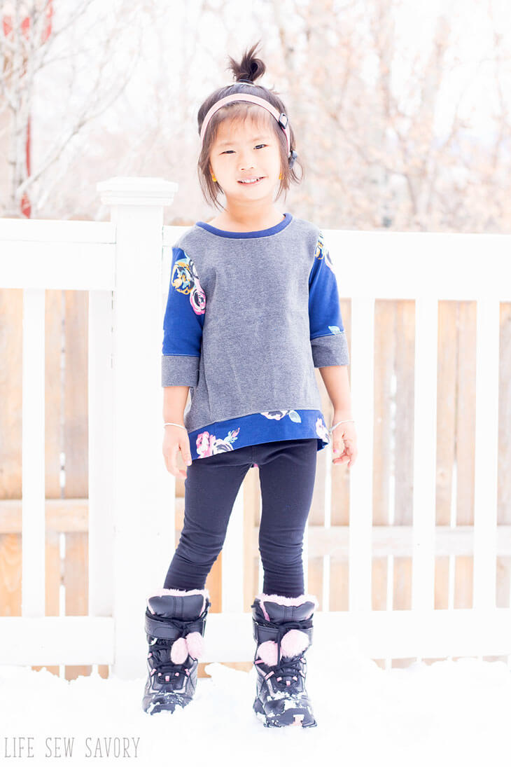 Free Sewing Pattern Girls Sweatshirt Tunic size 12m-5t from Life Sew Savory
