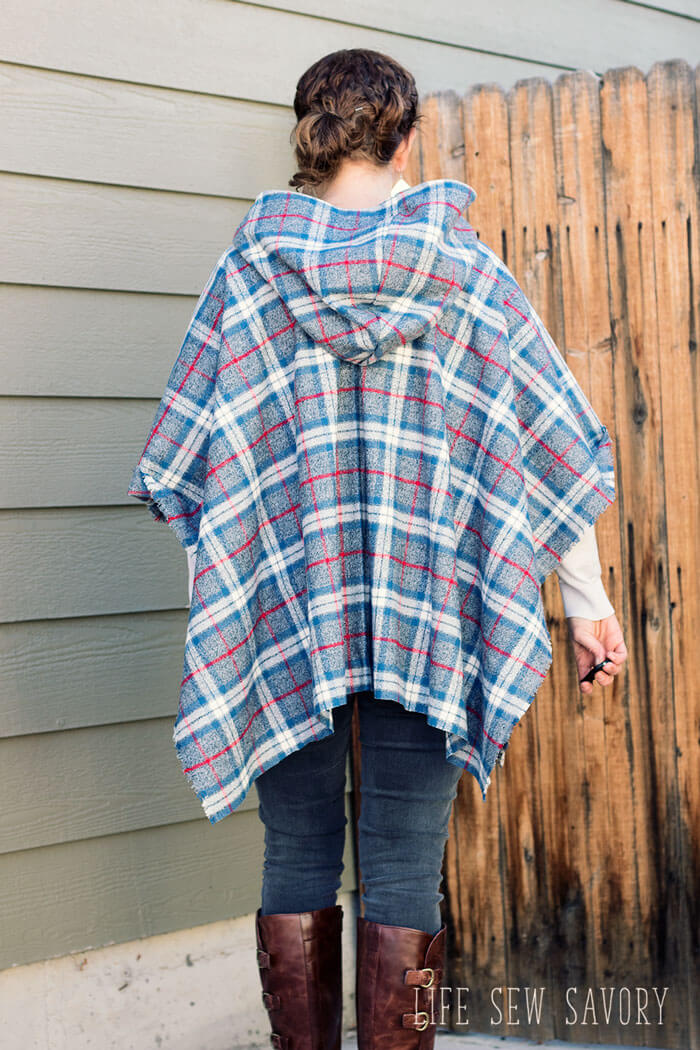 back of wool cape with hood