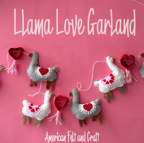 felt llama garland