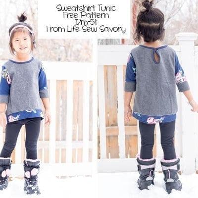 Free Sewing Pattern – Girls Sweatshirt Tunic