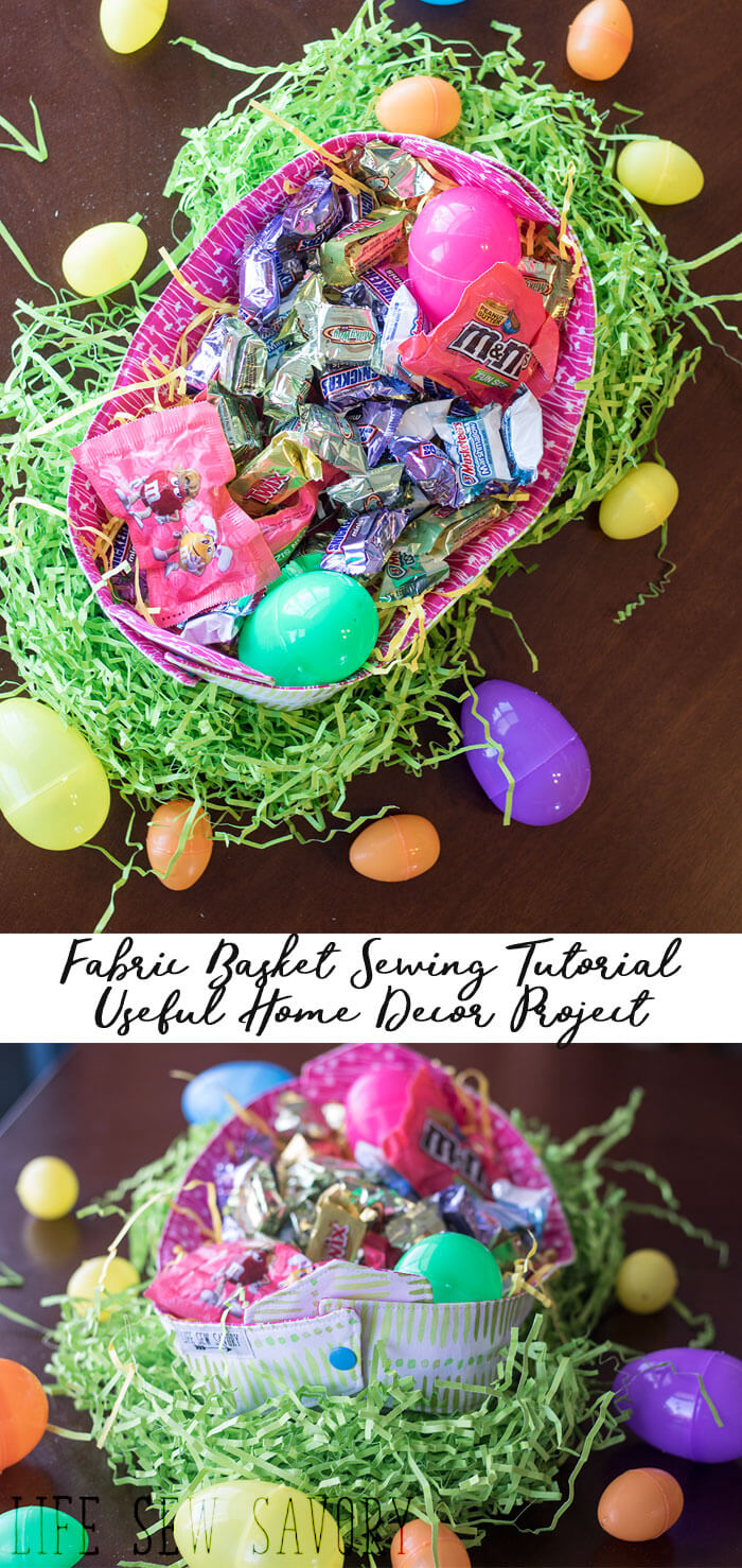 Fabric basket for Spring simple sewing tutorial for home decor from Life Sew Savory #SpringMoments @mmschocolate @samsclub