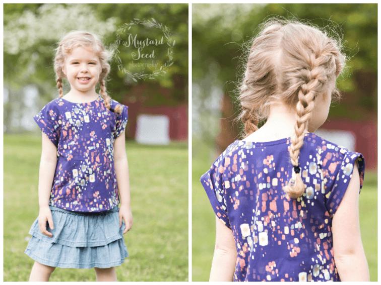 Girls t-shirt free sewing pattern