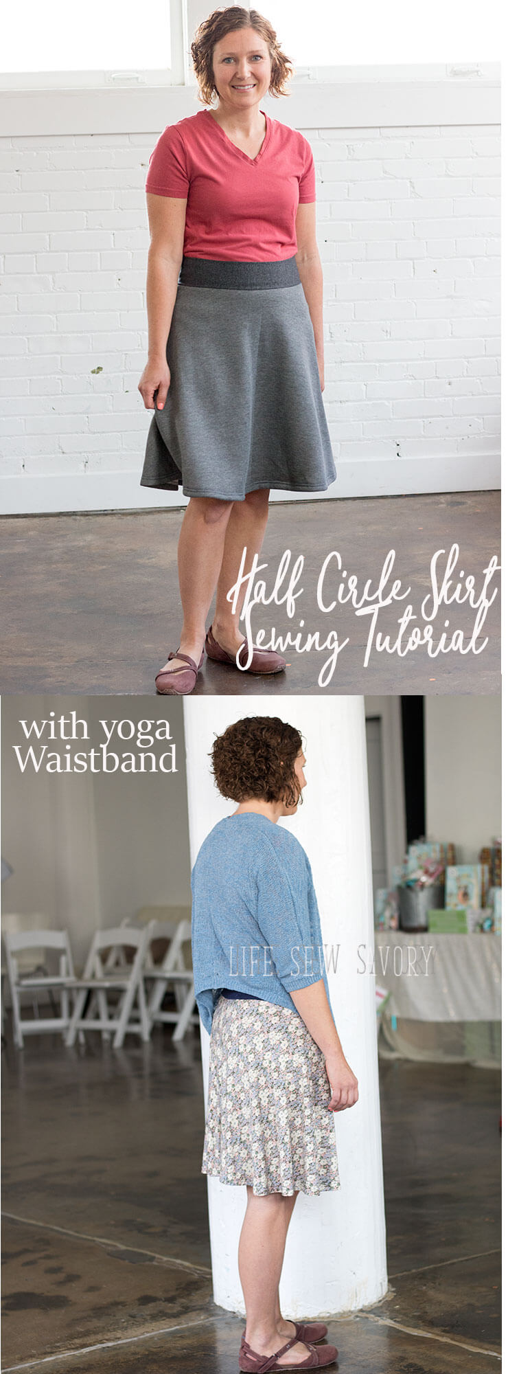 half circle skirt tutorial with yoga waistband from Life Sew Savory