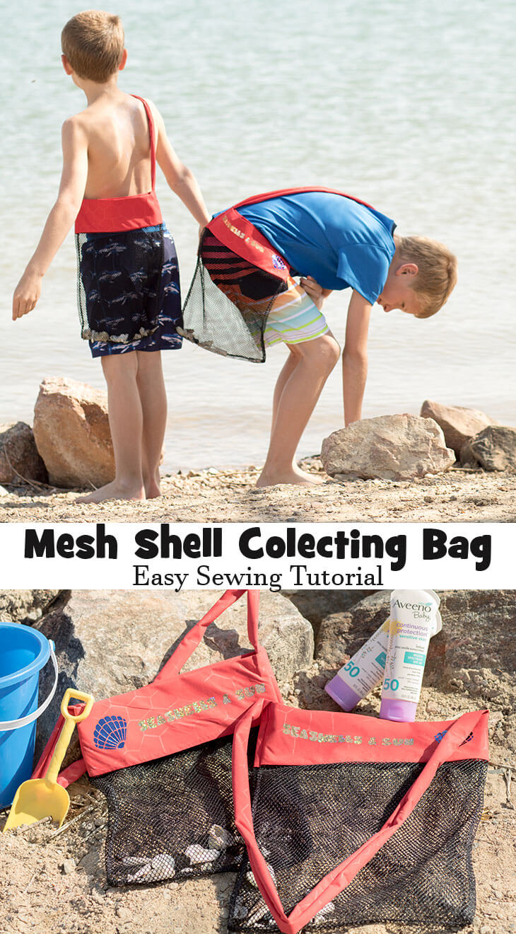 Seashell bag sewing tutorial with mesh from Life Sew Savory #AveenoBabyatWalmart AD @walmart