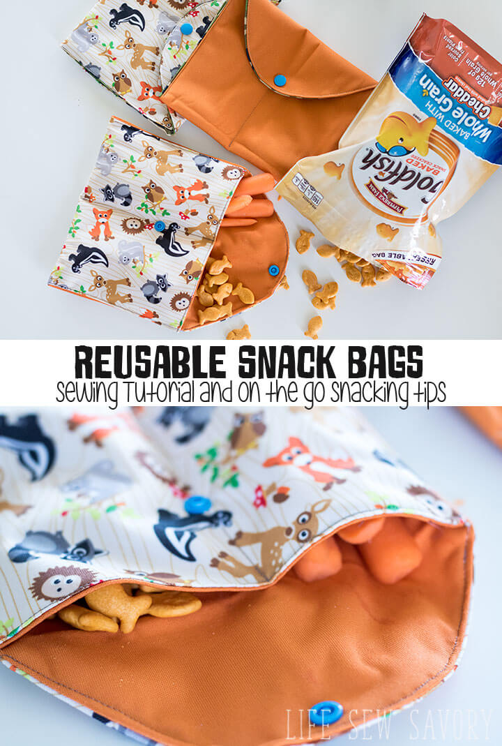 reusable snack bags for on the go snacking from Life Sew Savory
