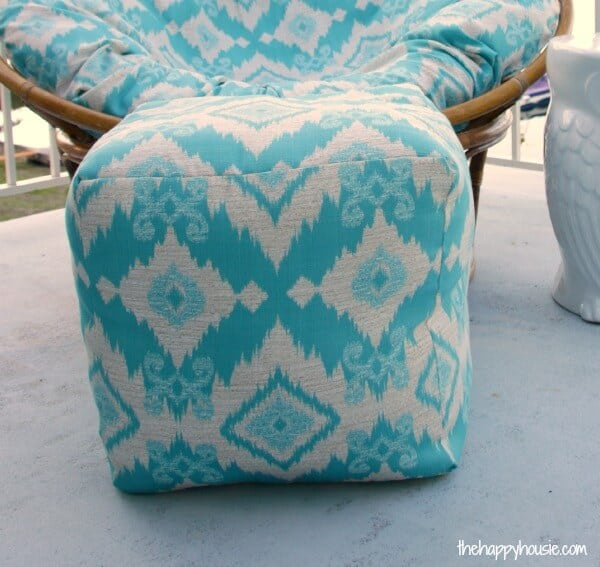 outdoor space pouf sewing project