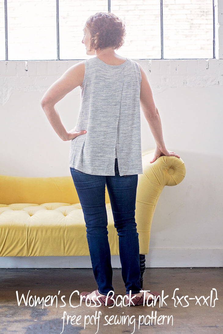 Tank Top Sewing Pattern - free pdf pattern womens cross back tank in sizes xs-xxl from Life Sew Savory