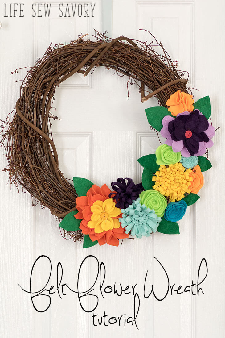 felt flower wreath tutorial from Life Sew Savory