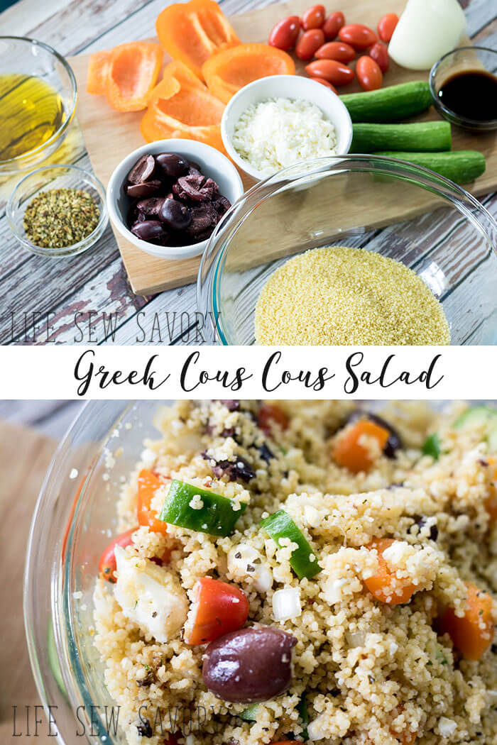 greek cous cous salad recipe from Life Sew Savory