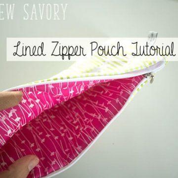 lined zipper pouch tutorial