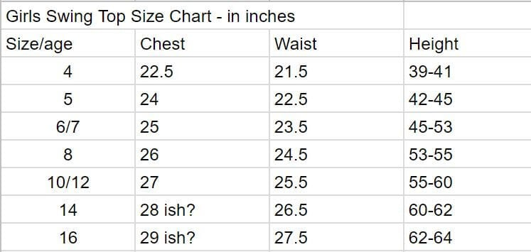 girls size chart from Life Sew Savory