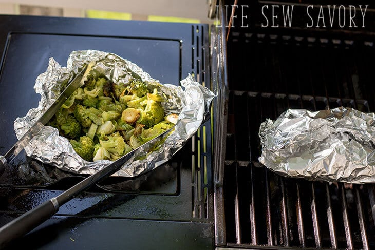 grilled brussel sprouts and broccoli