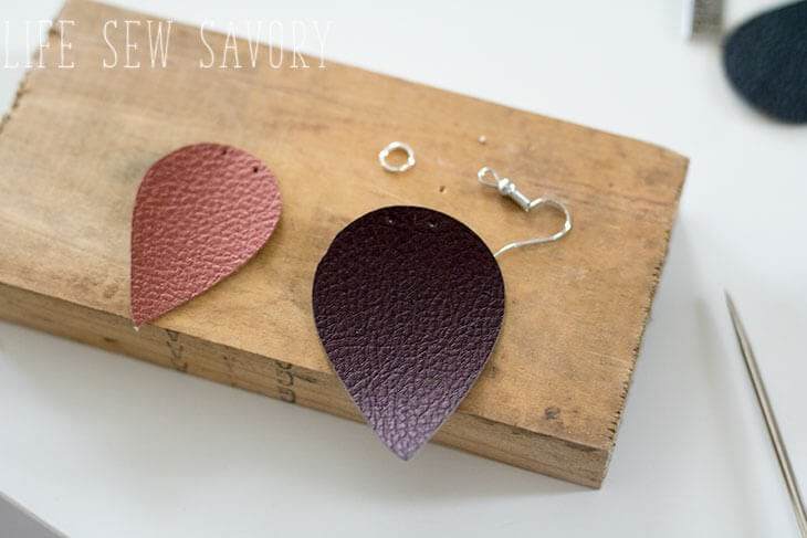 double layer faux leather earrings