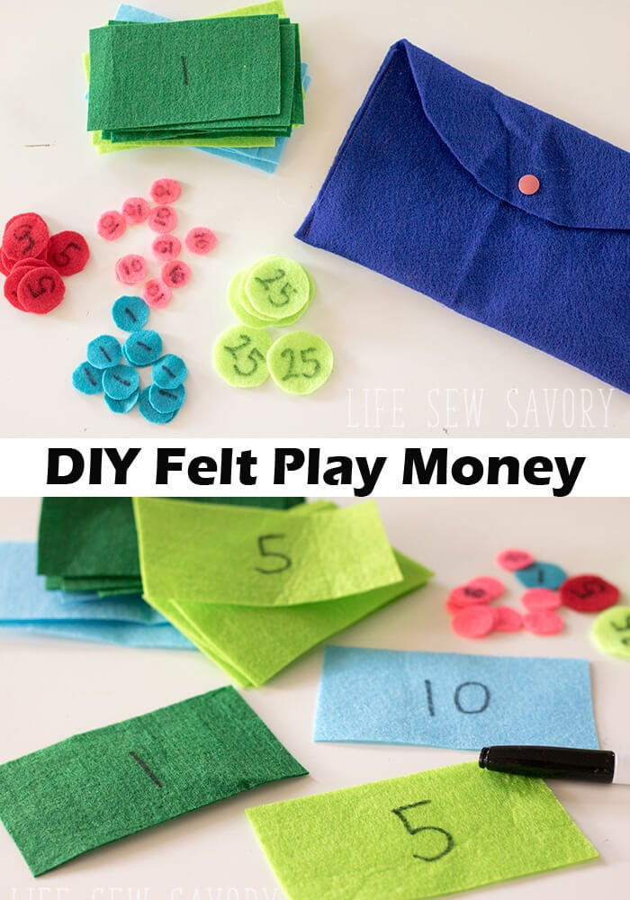 Felt PLay MOney fun craft for kids from Life Sew Savory