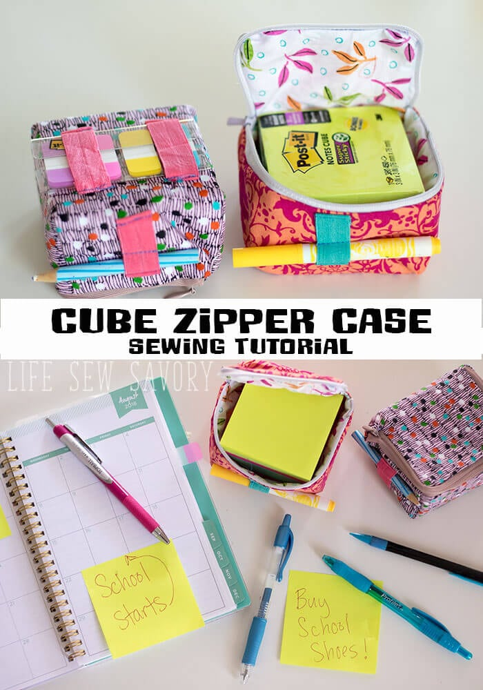 cube zipper case sewing tutorial for back to school with Post-it® from Life Sew Savory