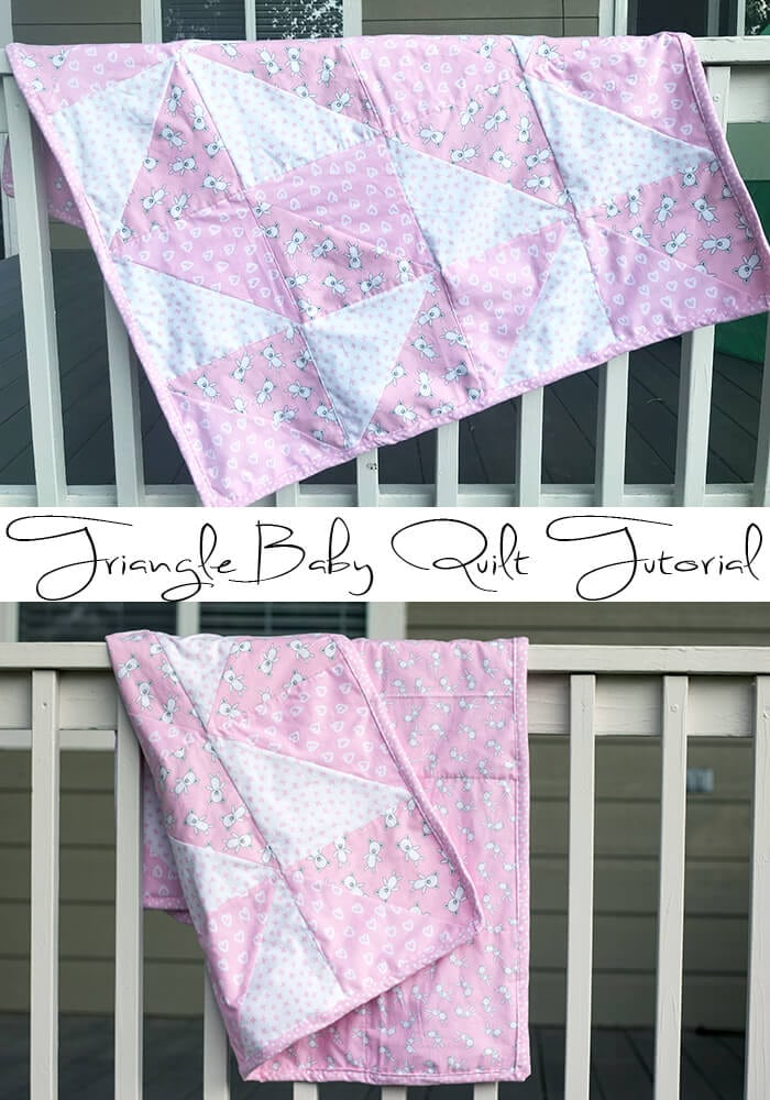 Triangle Baby Quilt Sewing Tutorial for flannel from Life Sew Savory