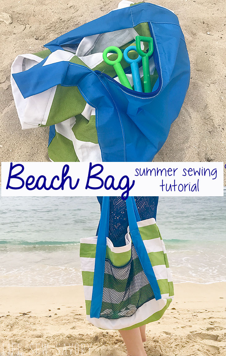 Beach bag tutorial easy sewing from Life Sew Savory