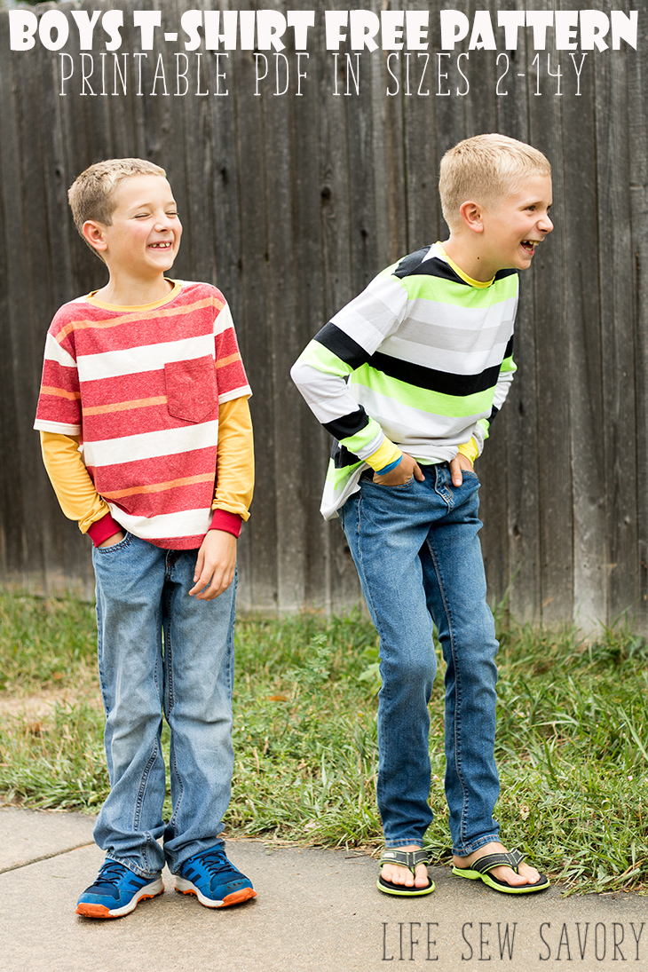 Free Sewing Pattern Boys t-shirt printable sewing pattern in size 2-14Y from Life Sew Savory