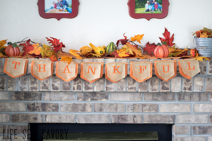 Thankful Banner with embroidered letters