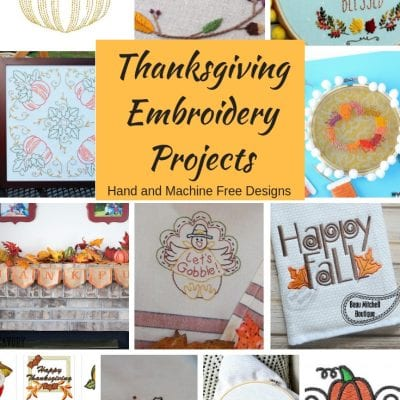 Thanksgiving Embroidery Projects with Free Designs{hand and machine}