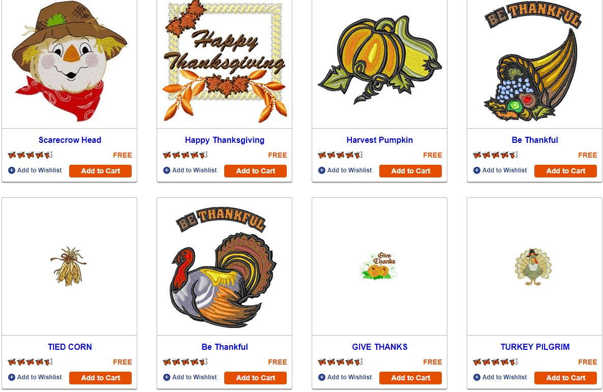 thanksgiving embroidery machine designs