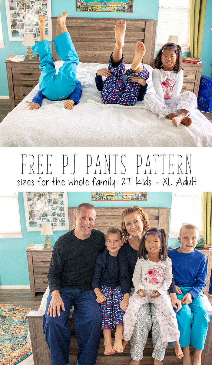 pajama pants pattern free pdf pattern for the whole family sizes 2t- adult xl from LIfe Sew Savory