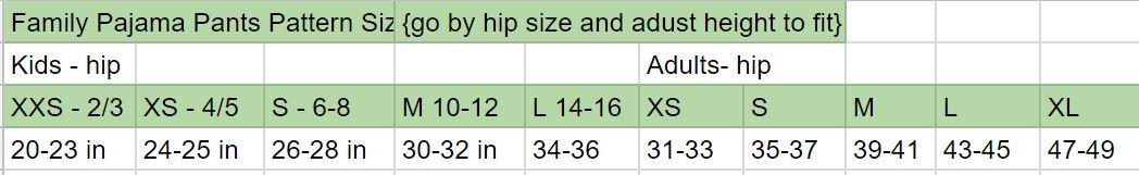 free pj pattern size chart
