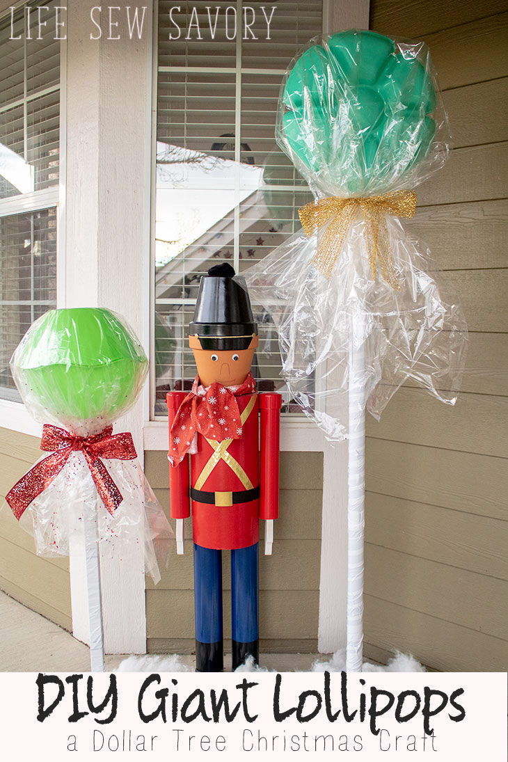 DIY Giant Lollipops Dollar Tree Christmas Craft from Life Sew Savory