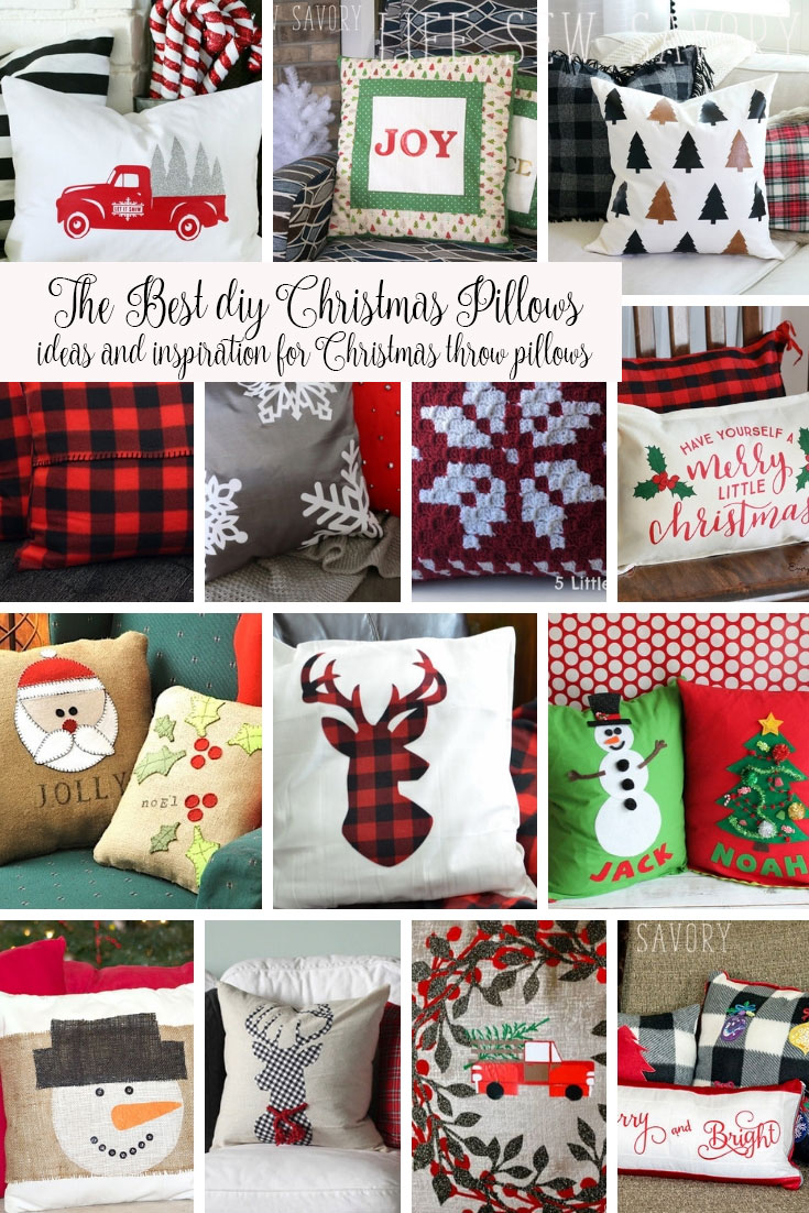 DIY Christmas Pillows ideas, tutorials and patterns to make easy Christmas pillows from Life Sew Savory