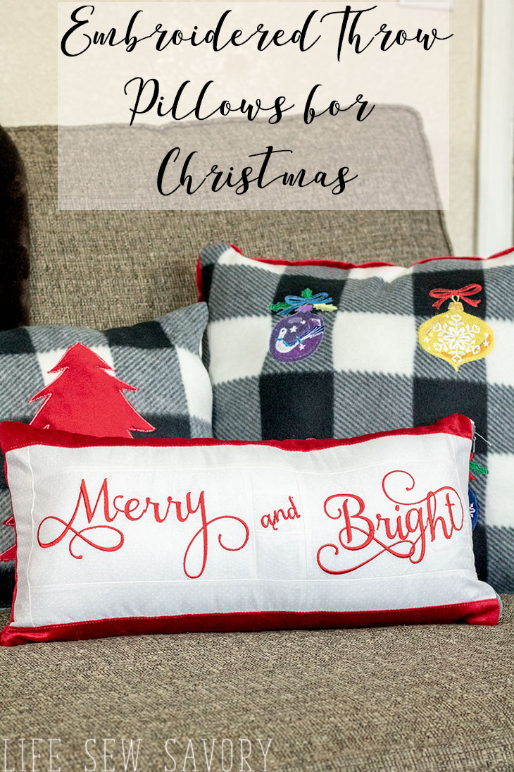Embroidered Christmas Pillows easy tutorial from Life Sew Savory