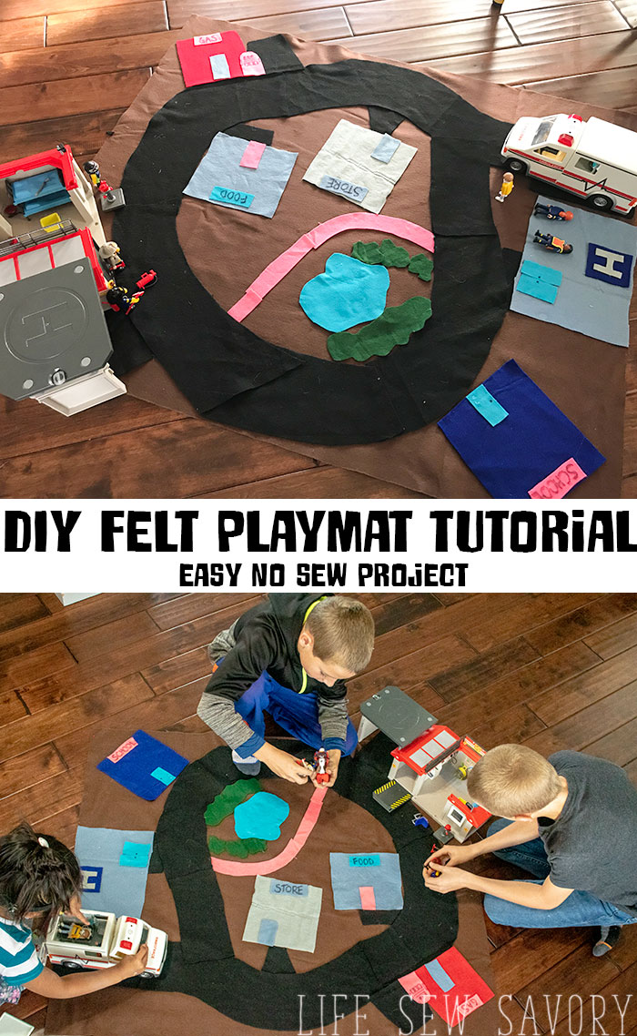 DIY Felt PLaymat tutorial a no sew fun and easy kids playmat from Life Sew Savory