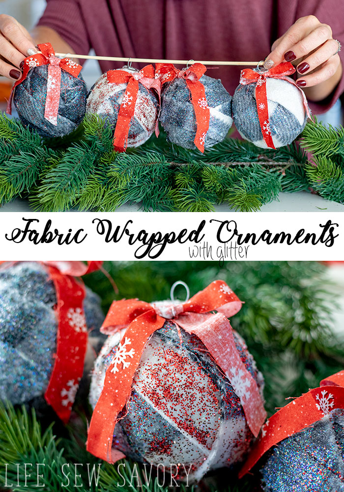 fabric wrapped ornaments with glitter easy christmas DIY from Life Sew Savory