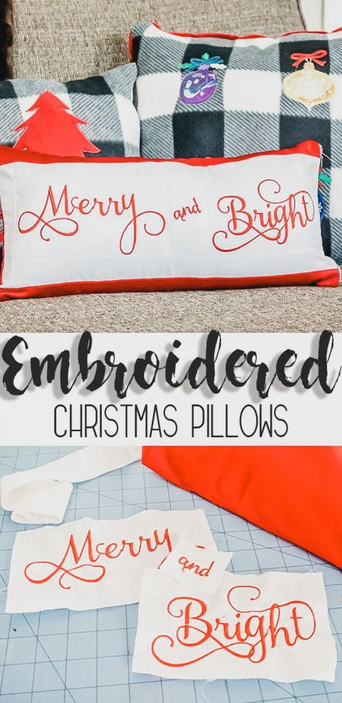Embroidered Christmas Pillows Sewing tutorial from Life Sew Savory