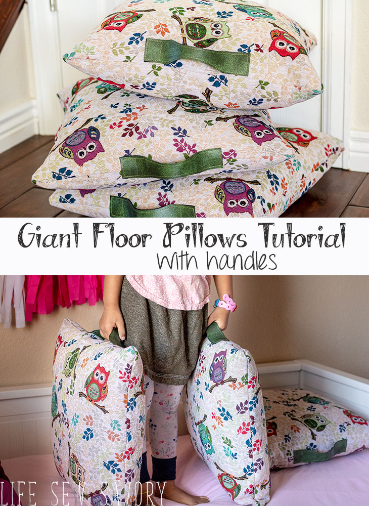 Giant Floor PIllows DIY make large floor pillows with handles tutorial from Life Sew Savory