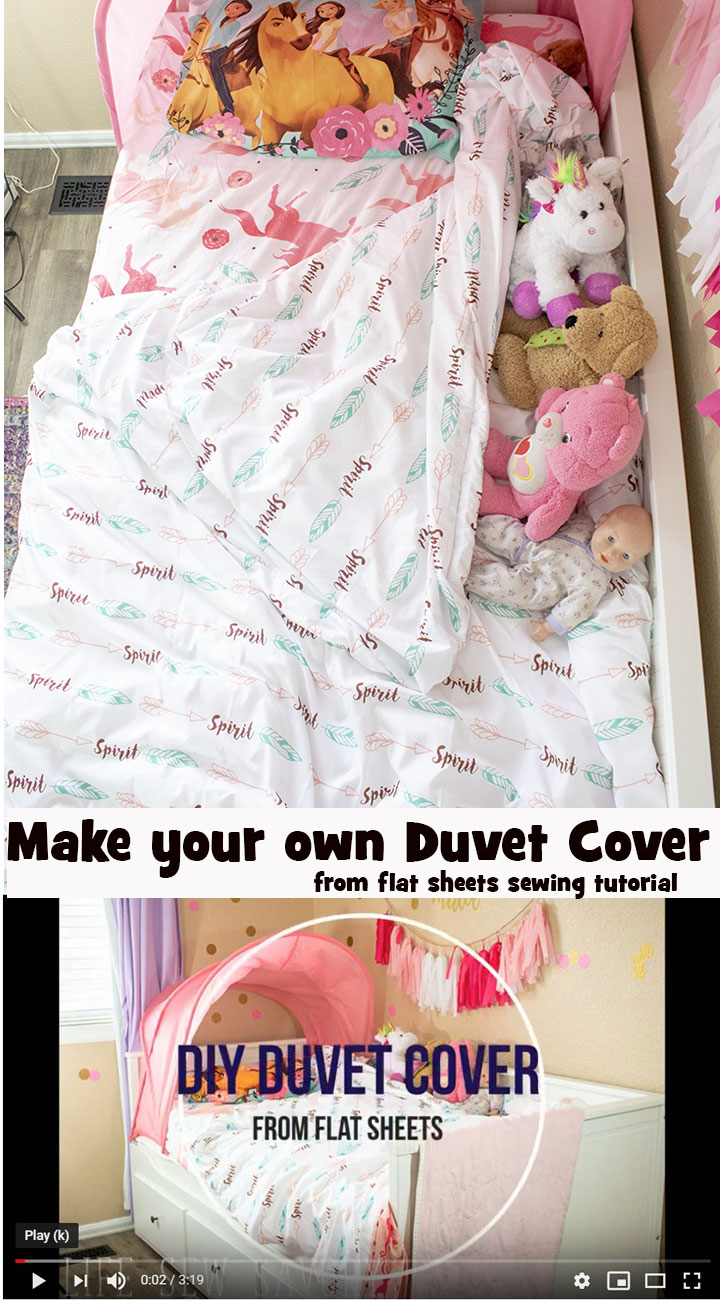 DIY Duvet cover from two twin sheets for a make your own duvet tutorial from Life Sew Savory