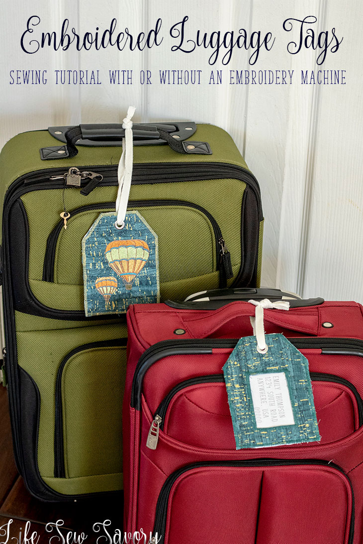 DIY Luggage Tags - embroidered luggage tags from Life Sew Savory