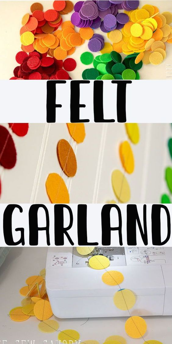 Learn how to make a felt circle garland with your electronic cutting machine and sewing machine. Simple craft project.