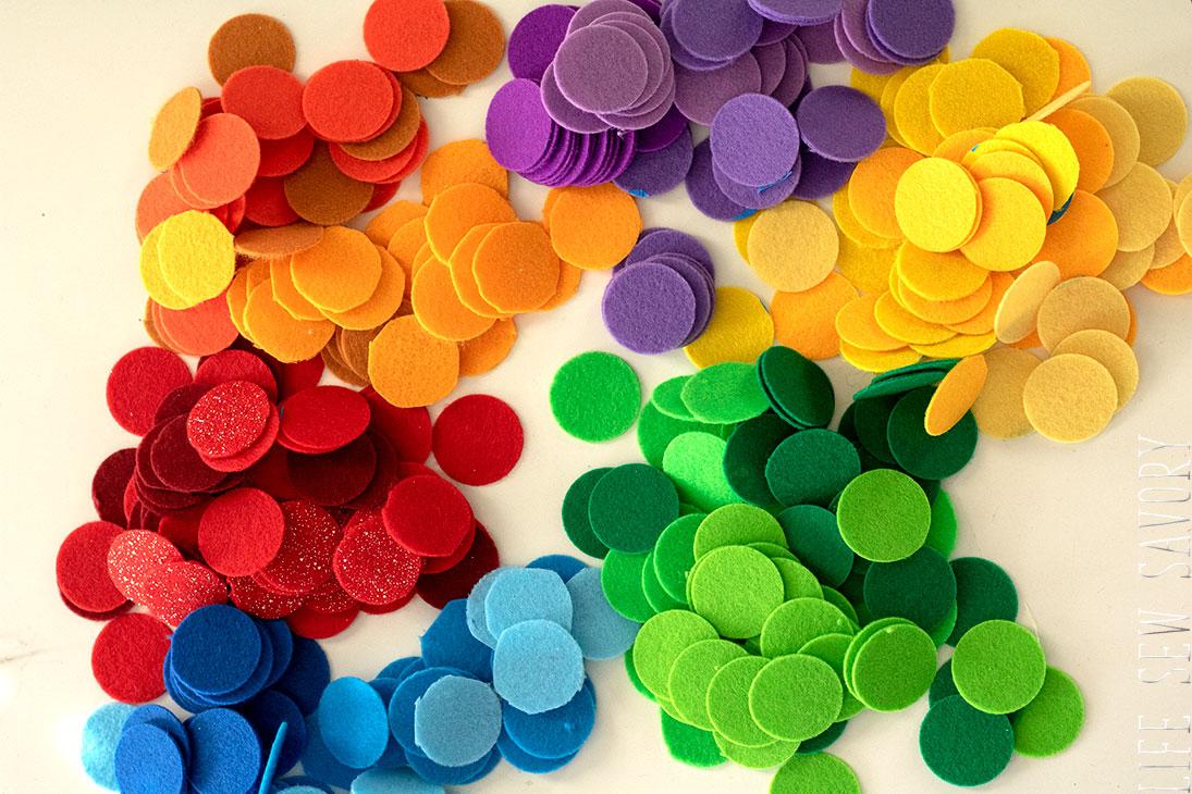 rainbow felt circles