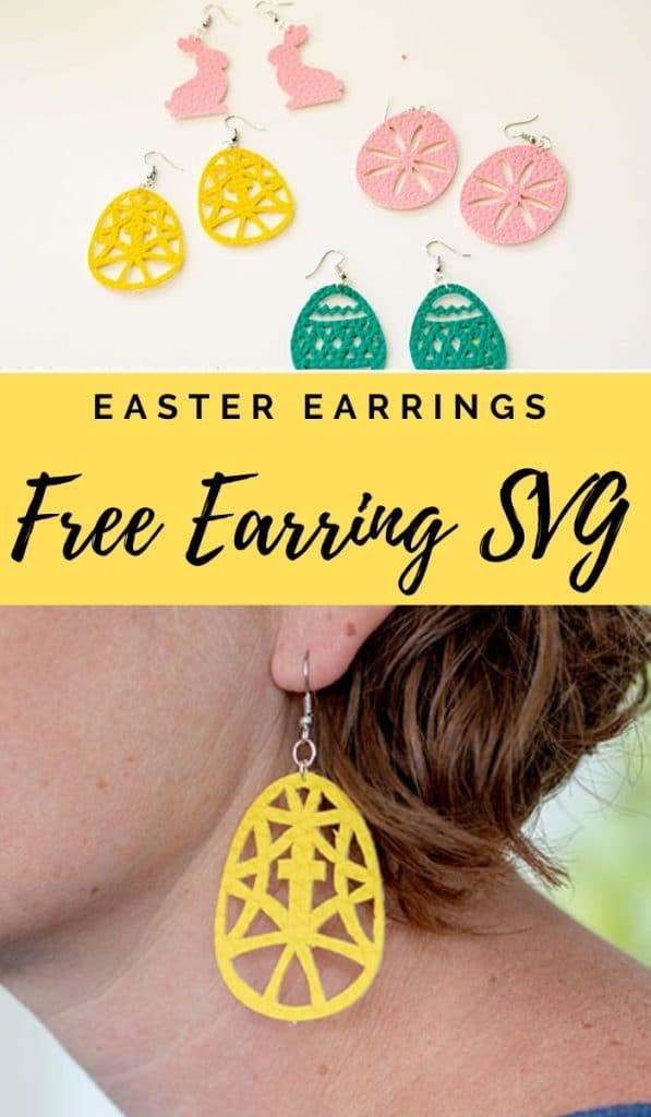 Free Earring SVG for Easter Earrings from Faux leather with cut files and tutorial from Life Sew Savory