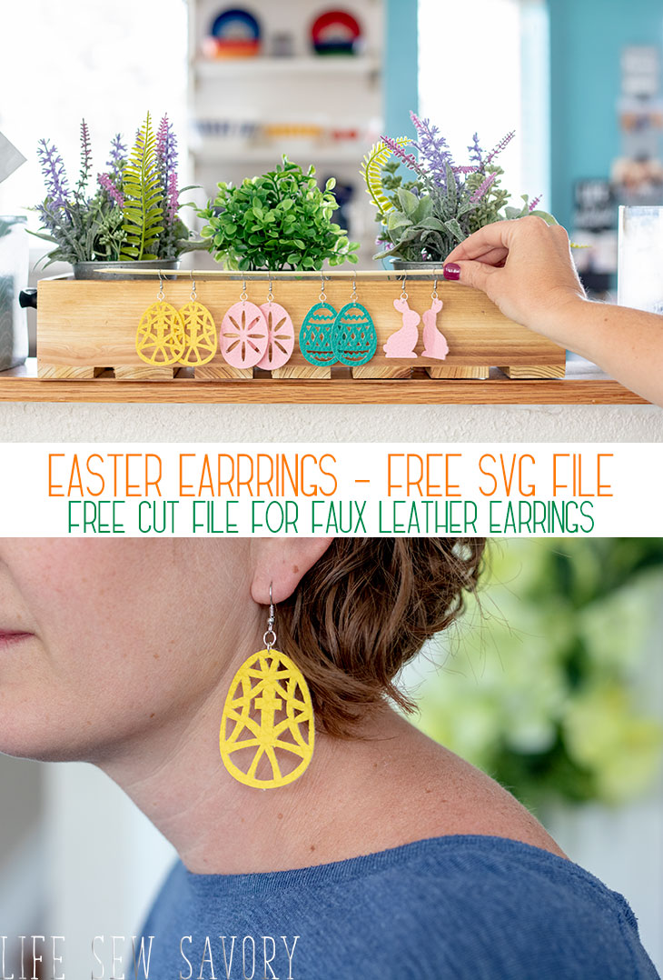 Leather earring svg for Easter free svg cut files and easy tutorial from Life Sew Savory