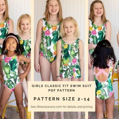 Girls Swimsuit Pattern Release Size 2-14
