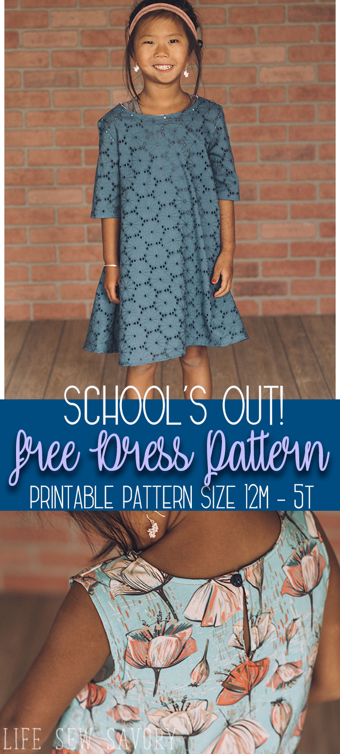 free dress sewing pattern for Girls pdf download size 12m - 5y from Life Sew Savory #sewingforkids #freesewingpattern