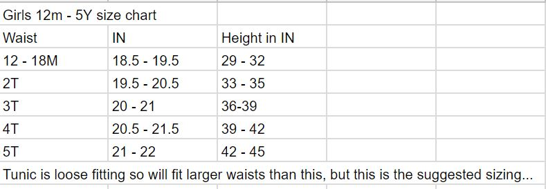 Girls top size chart